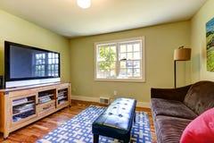 有棕色沙发和电视的简单的家庭娱乐室 库存照片
