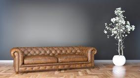有棕色皮革沙发和黑墙壁3D例证的最小的客厅 向量例证
