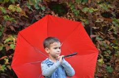 有棕色眼睛的英俊的逗人喜爱的男孩在一件牛仔裤夹克在有一把红色伞的秋天公园, 免版税库存照片