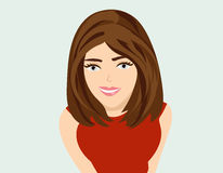 有棕色头发的传染媒介逗人喜爱的动画片女孩 免版税图库摄影