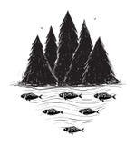 有森林和鱼的河岸 免版税库存图片