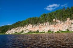 有森林河的海岛 库存照片