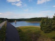 有森林的水坝在背景中 免版税库存照片