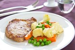 有棱角的猪肉[猪肉牛排] 免版税库存照片