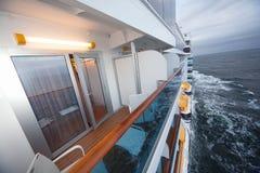 有椅子台灯的阳台在船 免版税图库摄影