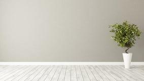 有植物和棕色墙壁的空的室 库存图片