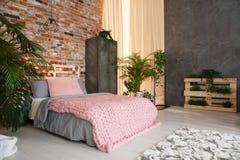 有植物的宽敞卧室 库存照片