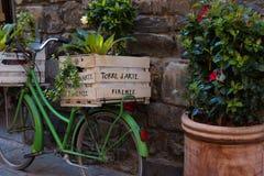 有植物的箱子沿佛罗伦萨,意大利狭窄的街道的一辆绿色意大利自行车的  图库摄影