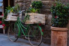 有植物的箱子沿佛罗伦萨,意大利狭窄的街道的一辆绿色意大利自行车的  库存图片