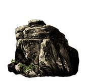有植被和草的大石鹅卵石 库存照片