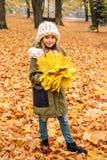 有槭树黄色花束的女孩在一条白色围巾离开,并且有概略手编织的帽子在f地毯的公园站立  免版税库存图片