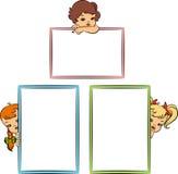 有横幅的动画片小女孩 库存图片