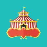有横幅的古典马戏场帐篷文本的,传染媒介例证 库存图片