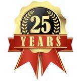 有横幅的周年纪念按钮和丝带25年 免版税图库摄影