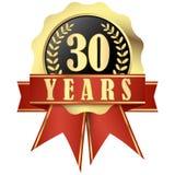 有横幅的周年纪念按钮和丝带30年 免版税库存图片