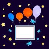 有横幅的气球在黑暗的天空 免版税库存图片