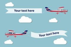 有横幅的飞机 免版税图库摄影
