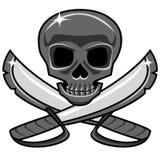 有横渡的剑的发光的金属头骨,海盗样式 库存例证
