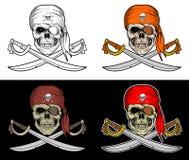有横渡的剑的海盗头骨有4个样式颜色的 向量例证