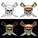 有横渡的剑的海盗头骨 库存例证