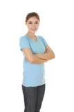有横渡的胳膊的妇女,佩带的T恤杉 免版税图库摄影