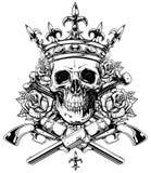 有横渡的骨头和左轮手枪的图表头骨 库存例证