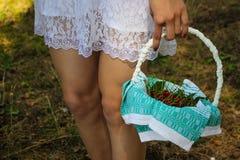 有樱桃篮子的女孩在森林里 免版税库存照片