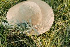 有橄榄树枝的帽子 免版税库存图片