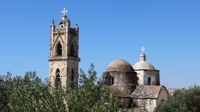 有橄榄树的老村庄教会在夏天 库存照片