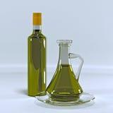 有橄榄油的水罐 库存图片