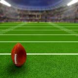 有橄榄球和拷贝空间的橄榄球场 免版税库存照片