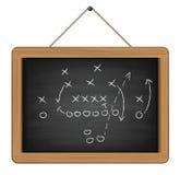 有橄榄球战术的黑板 免版税图库摄影