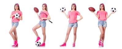 有橄榄球的妇女在白色 免版税库存图片