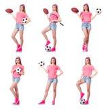 有橄榄球的妇女在白色 库存图片
