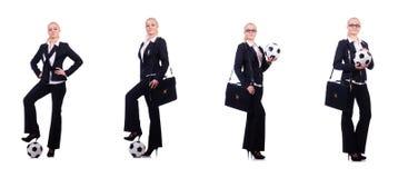 有橄榄球的妇女在白色 免版税库存照片