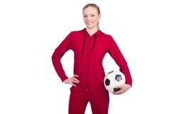 有橄榄球的妇女 免版税库存照片