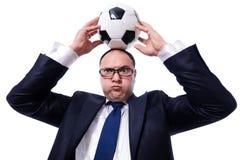 有橄榄球的滑稽的人被隔绝 免版税库存图片