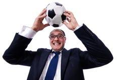 有橄榄球的滑稽的人被隔绝 免版税库存照片