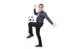 有橄榄球的滑稽的人 免版税图库摄影