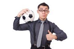 有橄榄球的滑稽的人 免版税库存图片