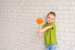 有橙色大丁草的男孩 免版税库存照片