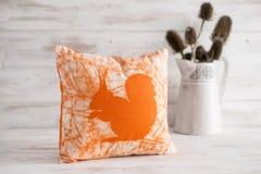 有橙色灰鼠版本记录的方形的羽绒枕头 免版税库存图片