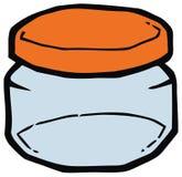 有橙色盖帽传染媒介例证的玻璃瓶子 图库摄影