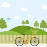有橙色赛跑的自行车的美丽的简单的动画片草甸在天空背景 能使用作为背景或印刷品 皇族释放例证