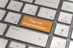 有橙色钥匙的键盘进入并且措辞您关于印象按钮个人计算机的` 库存图片
