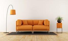 有橙色长沙发的现代客厅 库存例证