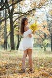 有橡木诗句的长发女孩在秋天 免版税库存照片