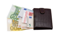 有欧元的皮革钱包 免版税库存图片