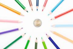 有欧元的色的铅笔 库存图片