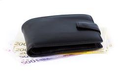 有欧元的钱包 免版税库存图片